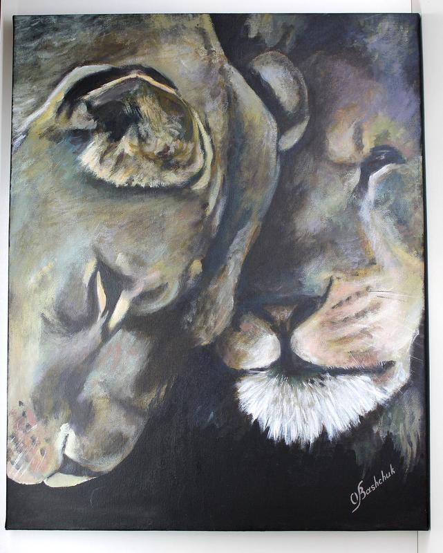 """Картина акрилом на полотні """"Солодкий полон"""" , картина з левами, пара левів, любов"""