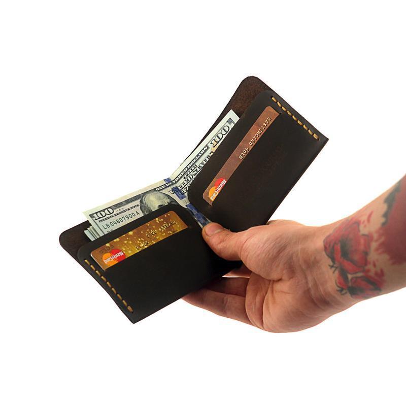 """Кошелёк мужской """"Triplet"""" в стиле минимализм. Бумажник, лопатник, портмоне, кожаный кошелёк, кожа"""