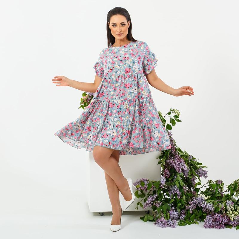 Платье женское летнее батал nobilitas 42 - 52 мятное с розовым хлопок (мод. 21020)