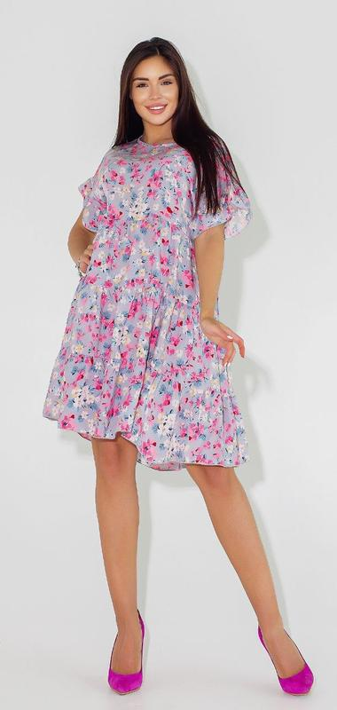 Платье женское летнее батал nobilitas 42 - 52 серое с розовым хлопок (мод. 2102