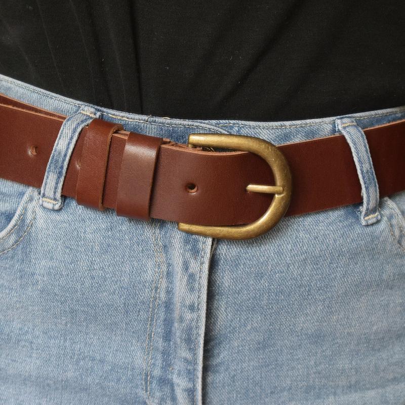 Ремінь шкіряний жіночий коричневий коньячний для джинсів Diana