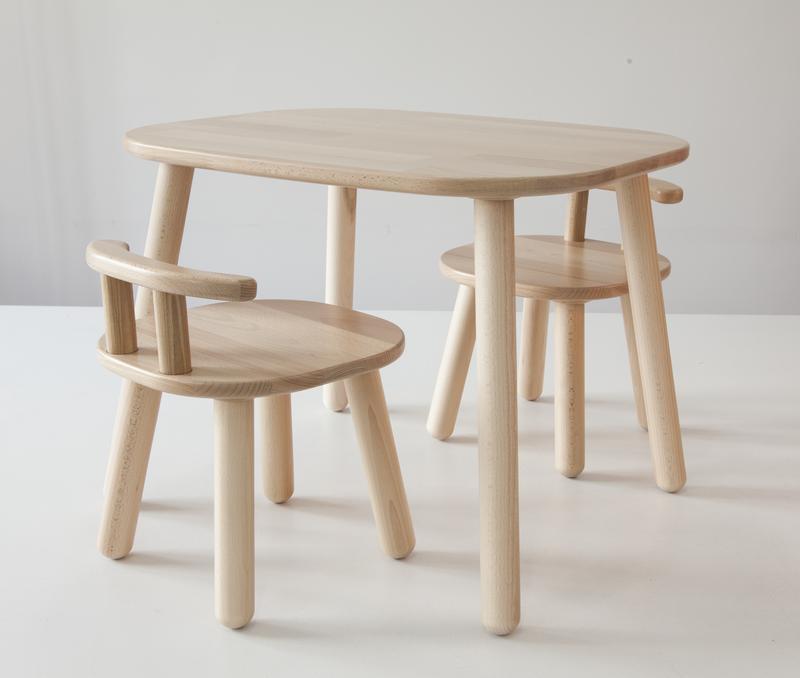 Комплект стол и 2 стула детских 2-4 года, натуральный бук
