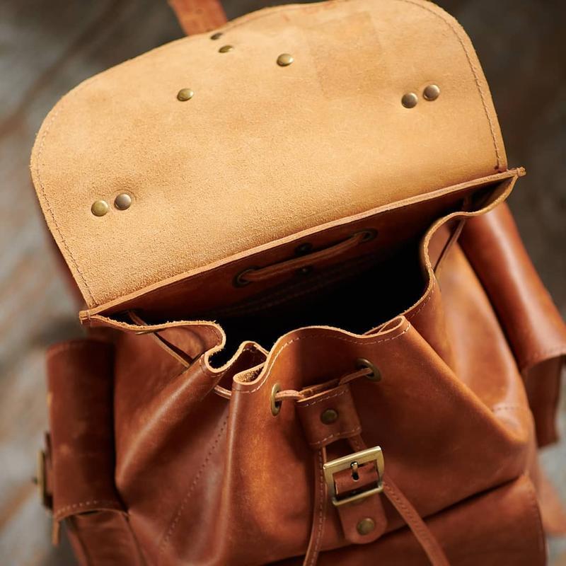 Рюкзак кожаный прочный цвет кемел. Унисекс