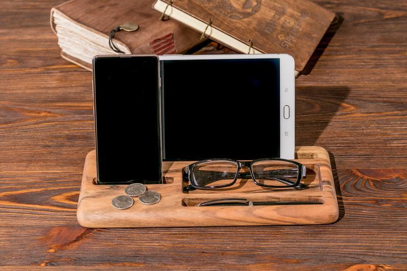 Подставка Для Смартфона Планшета iPad iPhone Деревянный Аксессуар Настольный Органайзер Держатель