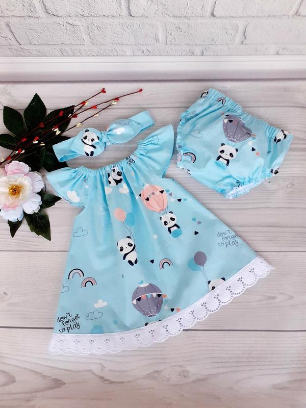 """Летний комплект для девочки """"Панда"""" : платье, трусики и повязка Солоха 62,68,74,80,86,92"""