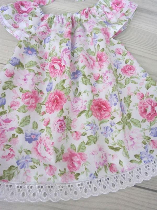 """Летнее хлопковое платье для девочки """"Розовые цветы"""""""