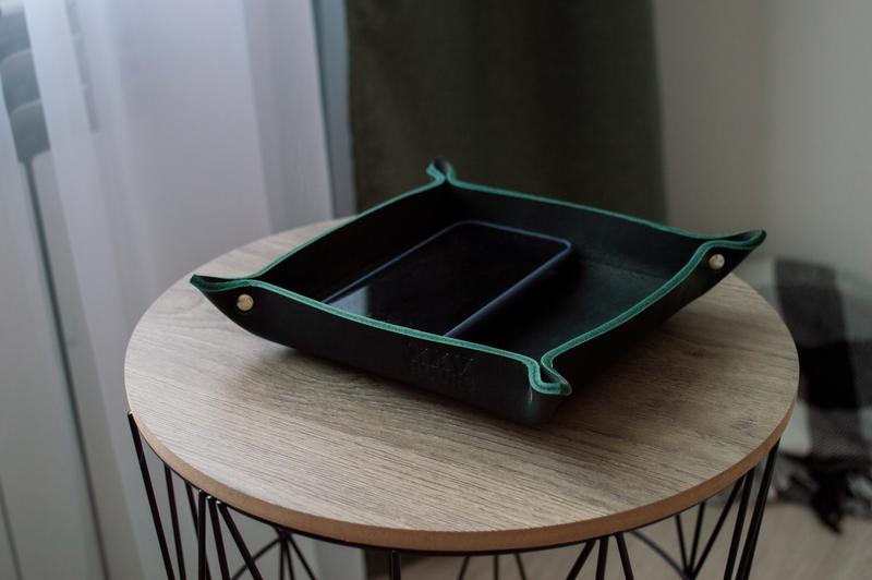 Кожаный лоток органайзер (Зеленый) Leather Tray