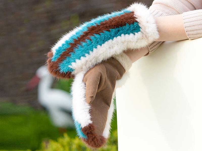меховые вязаные варежки из цветной скандинавской норки ручной