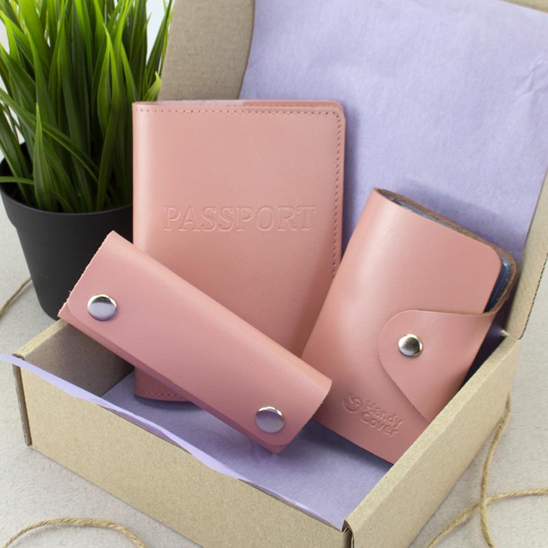 Подарочный набор №21: обложка на паспорт +картхолдер + ключница (розовый)