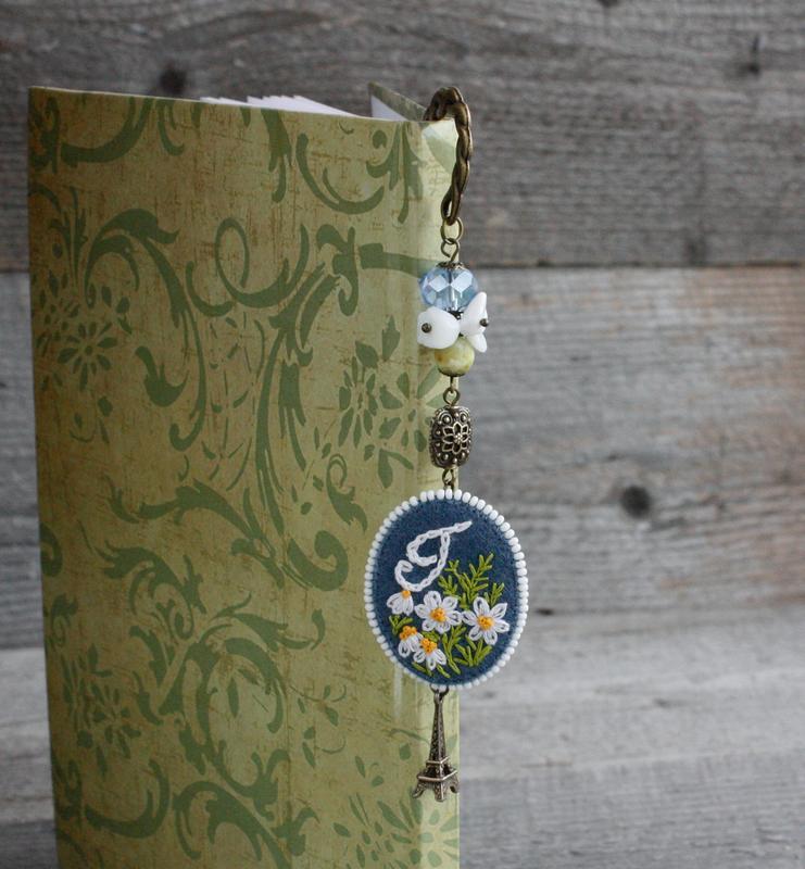 Именная закладка для книг с камнями Ромашки Именной подарок на день рождения