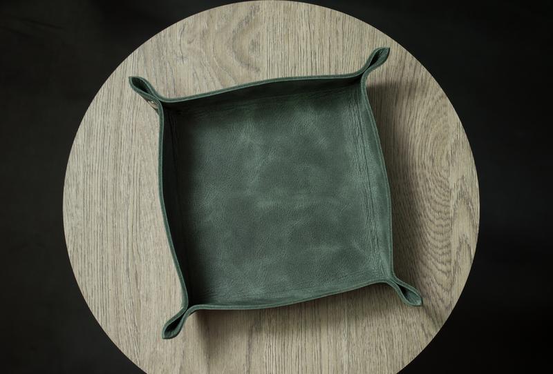 Шкіряний лоток органайзер (Зелений) Leather Tray