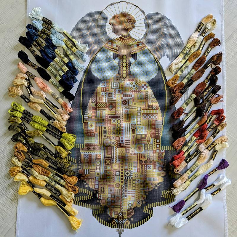 Ангел Любви на белом домотканом полотне Схема для вышивки бисером, нитками Angel of Love