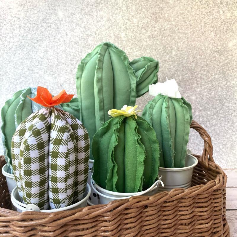 Набор текстильных кактусов, декор для дома, суккулент, тильда