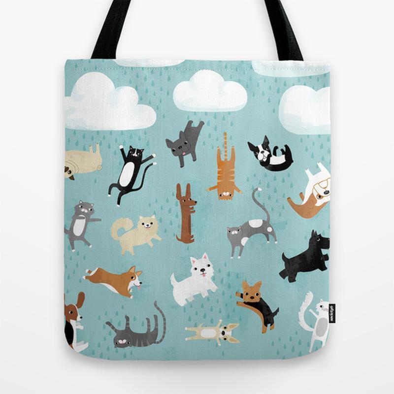 42c8a8db8981 Эко сумка Кошки и Собаки. Стильная сумка из ткани шоппер, тряпичная сумка.  Молодежная летняя сумка