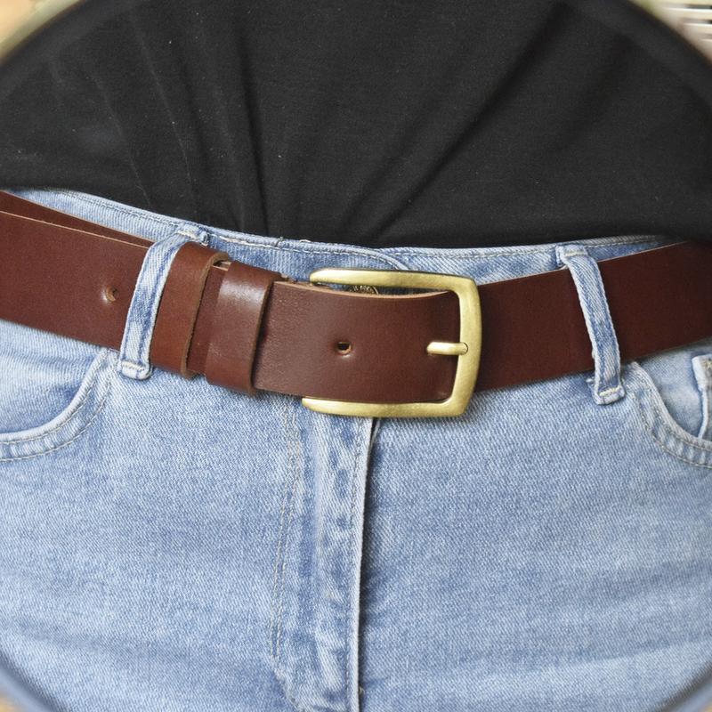 Ремень кожаный женский коричневый коньячный для джинсов Alfa38