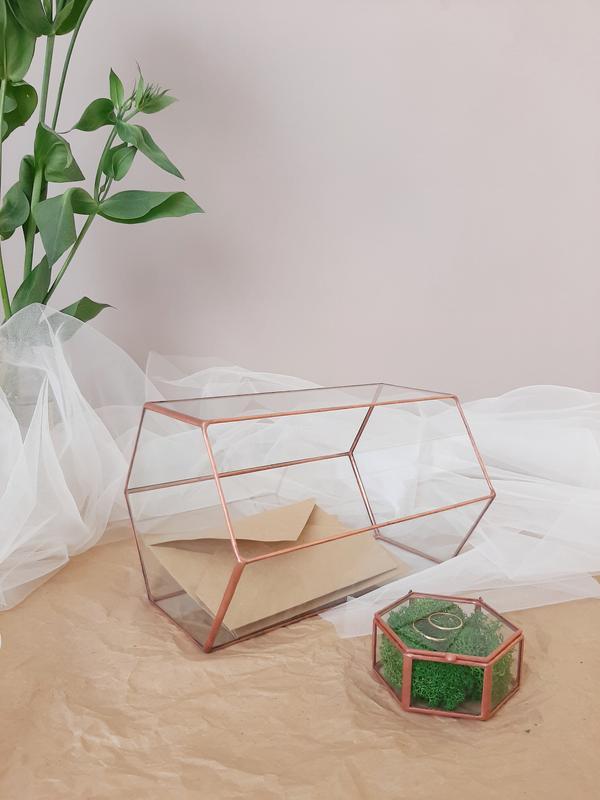 Казна для конвертов и свадебная шкатулка для обручальных колец, НАБОР. Коробочка для колец и сундук.