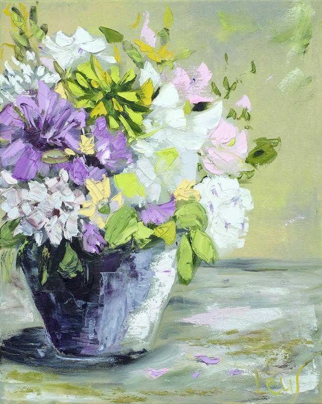 """Нежная картина """"Весенние цветы в вазе"""" масло, холст на подрамнике 40х50 см фиолетовый фисташковый"""
