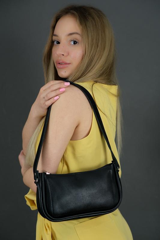 Кожаная женская сумочка Джулс, гладкая кожа, цвет черный