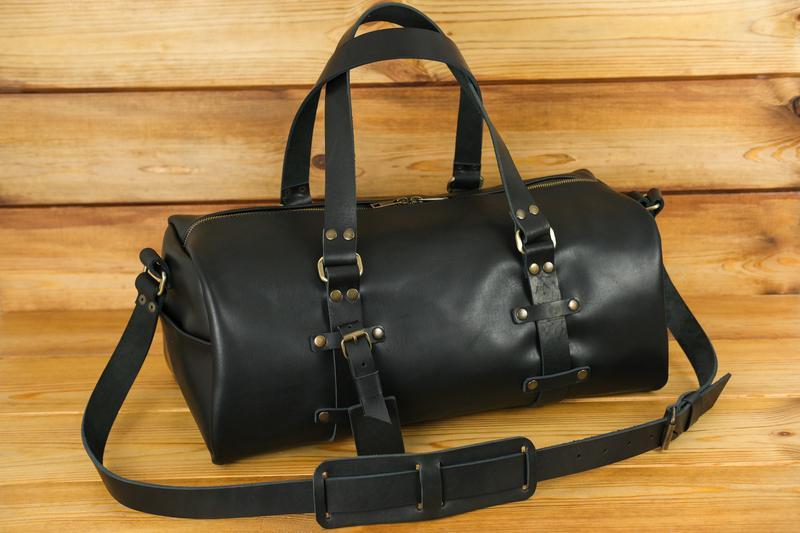 """Сумка travel """"модель №81"""", кожа итальянский краст, цвет черный"""