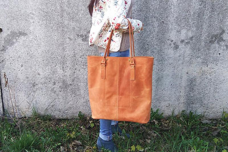 ff01624c1b0f Большая коричневая кожаная женская сумка ручной работы купить в ...
