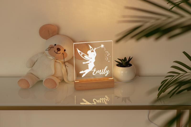 Детский ночной светильник USB, ночник в детскую для новорожденного, светильник с персонализацией