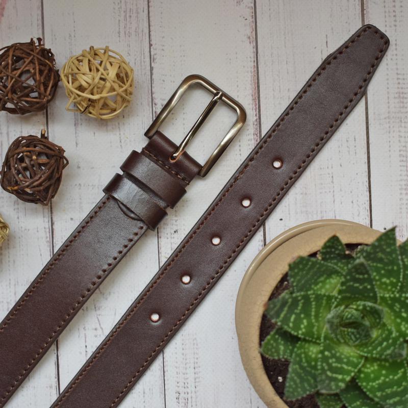 Ремень кожаный мужской коричневый прошитый  samuil2
