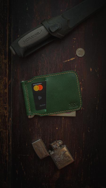 Кожаный кошелек зажим (Зеленый)