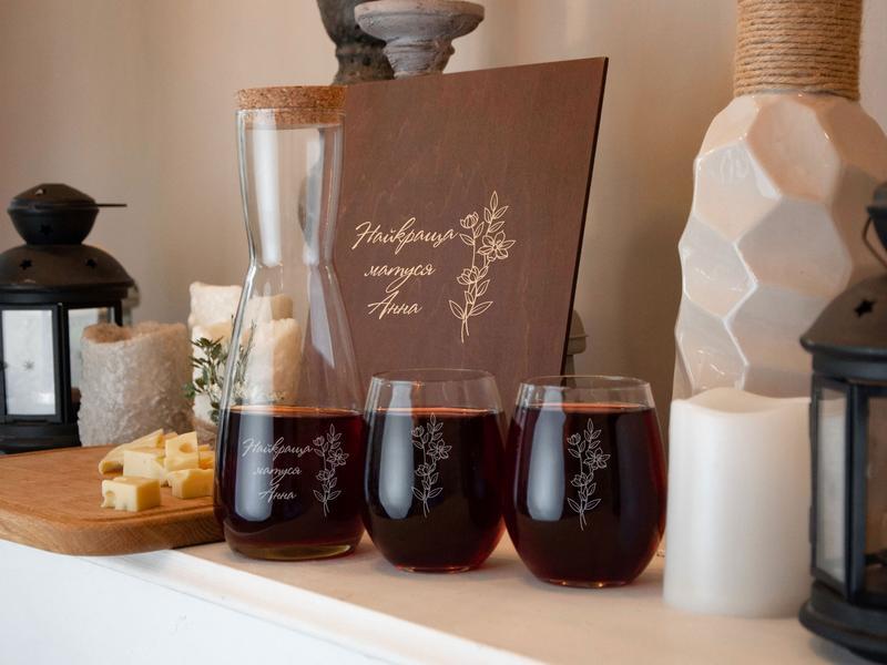 Набор для вина с именной гравировкой на подарок маме