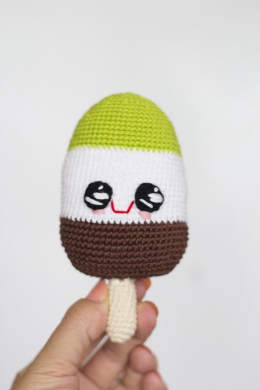 Вязаное фисташковое мороженое амигуруми, вязаные игрушки крючком