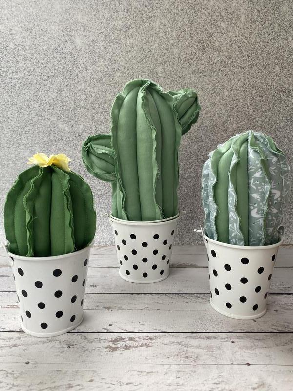 Текстильные кактусы, декор для дома