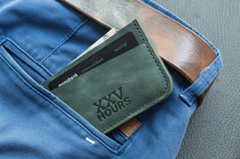 Кожаный кошелёк картхолдер (зеленый)  Junior