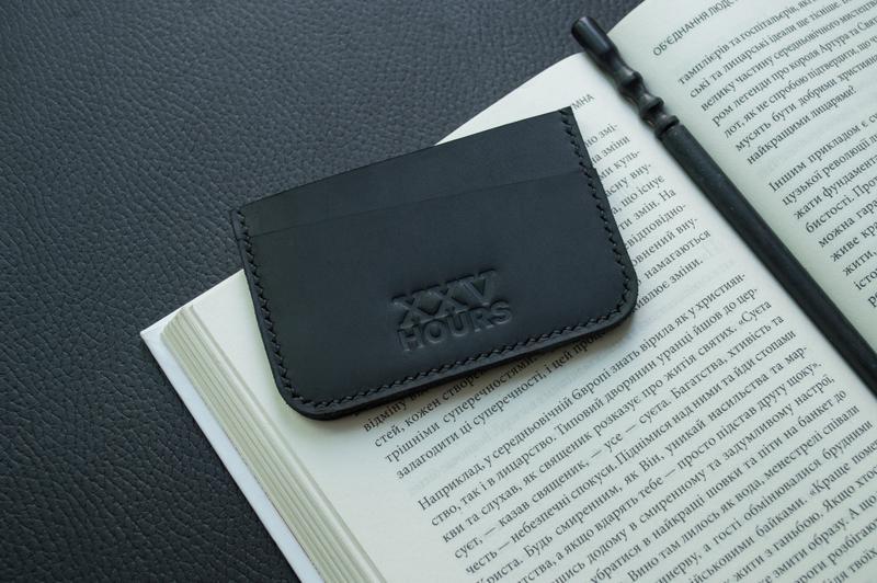 Кожаный кошелёк картхолдер (черный)