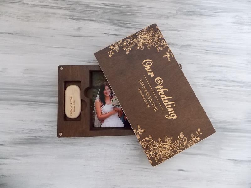 Деревянная коробка для фотографий с флешкой, съемная крышка на магнитах