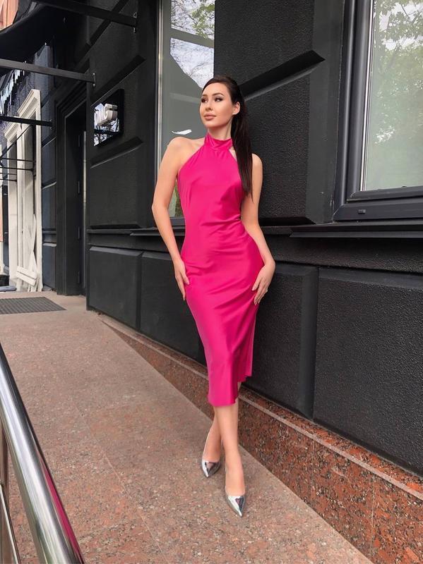 Платье цвета фуксии из сатина Dior