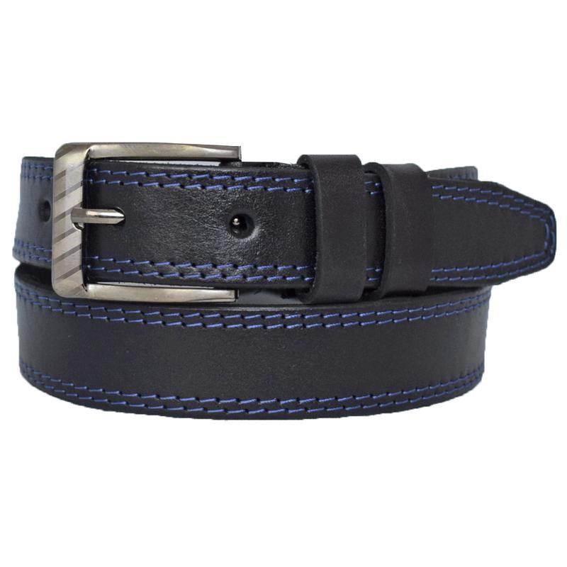 Ремень кожаный детский черный с синей строчкой Taras
