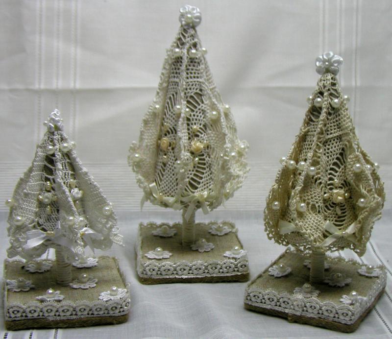 Новогодний набор «Винтажные ёлки из текстиля» 3шт., декор, украшение