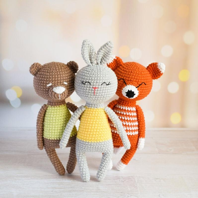 Лесные маленькие зверята. Подарок новорожденному.Подарок ребенку.Первые игрушки.
