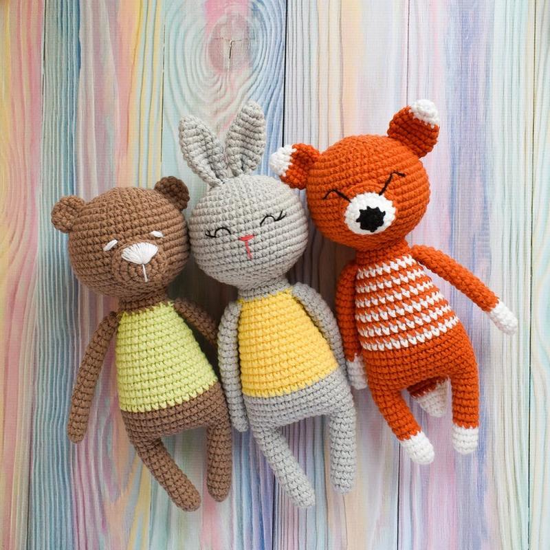 Первые игрушки для малышей. Лесные животные.Подарок новорожденному.Эко-игрушки.