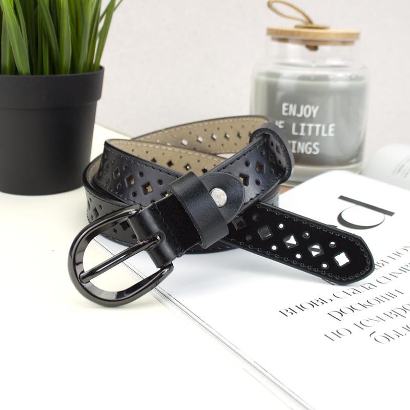 Ремень кожаный женский с перфорацией черный PS-2583 (115 см)