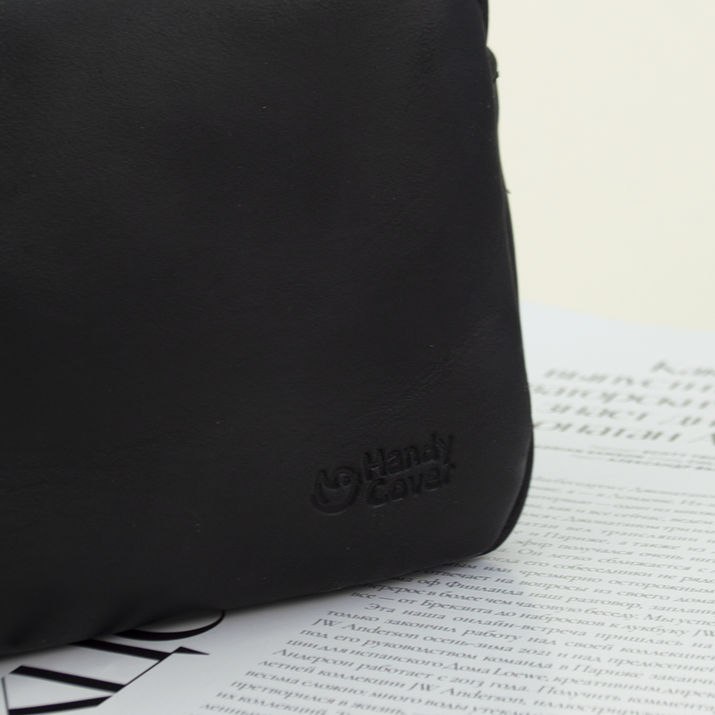 Косметичка кожаная мужская черная Handy Cover HC0021 black