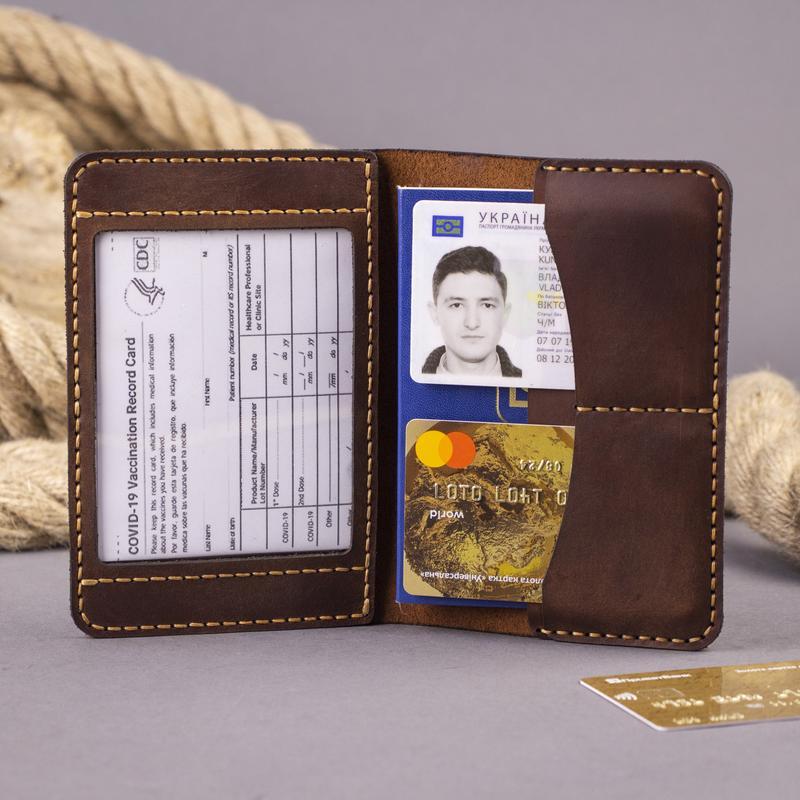 Кожаная обложка для паспорта Anchor Stuff (для пропуска, документов, ID карты, прав) - Коричневая
