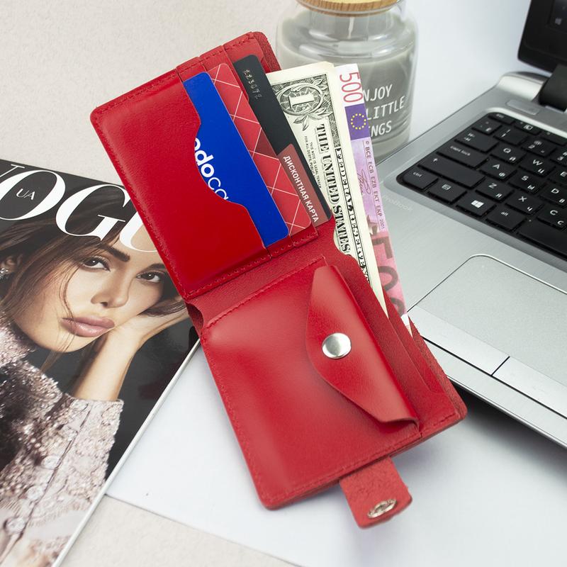 Портмоне женское кожаное на кнопке Handycover HC0042 красное