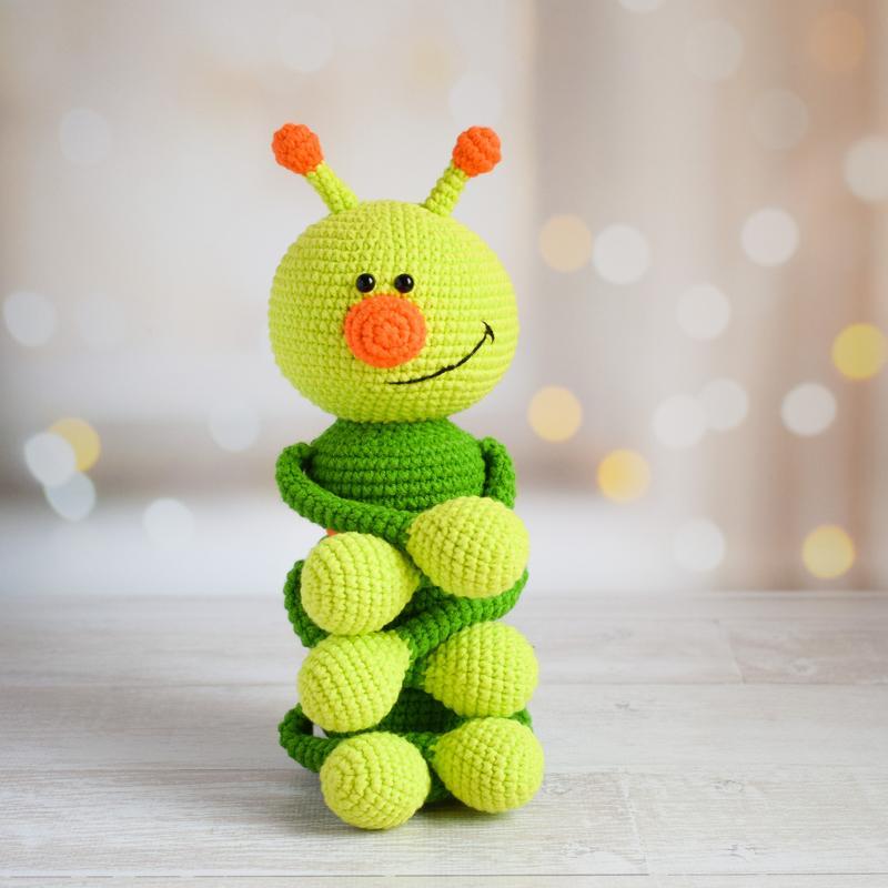 Забавная гусеница.Первая игрушка малыша.Подарок новорождённому. Эко-игрушка.