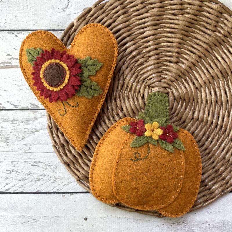Набор тыква и сердце из фетра, осенний декор для дома