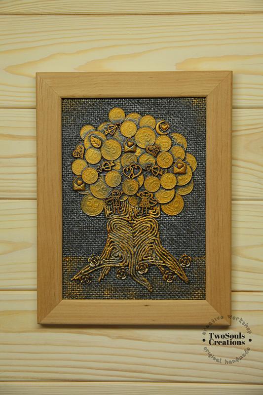 Картина из монет, денежное дерево, картина на стену, интерьерная картина.
