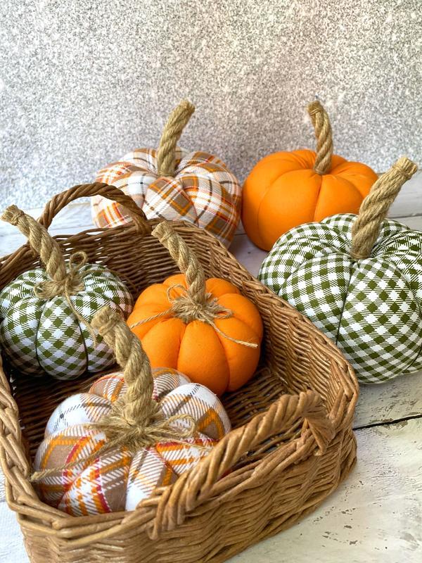 Набор текстильных тыкв, осенний декор для дома, хлопковые тыквы, Хэллоуин