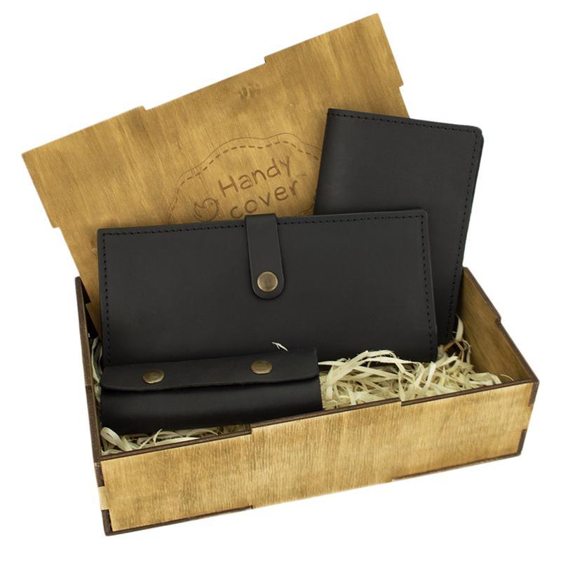 Подарочный набор женский Handycover №45 (черный) кошелек, обложка, ключница в коробке