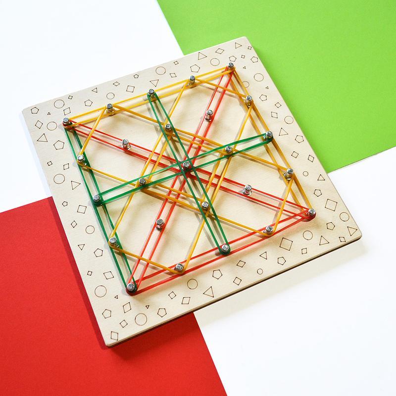 Геоборд (математичний планшет) 19х19см. Навчальна дошка з гумками, моно дошка (геометрик)