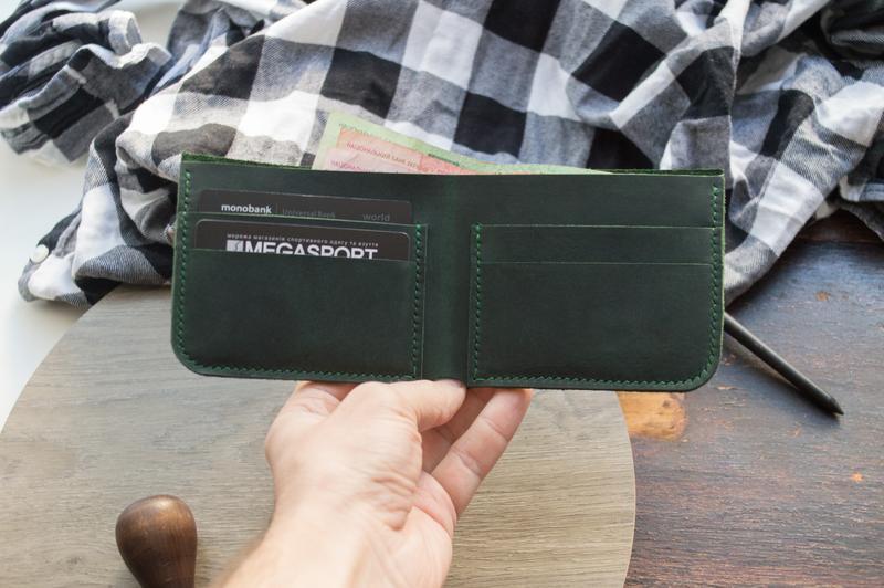 Кожаный кошелёк (Зеленый) Middler