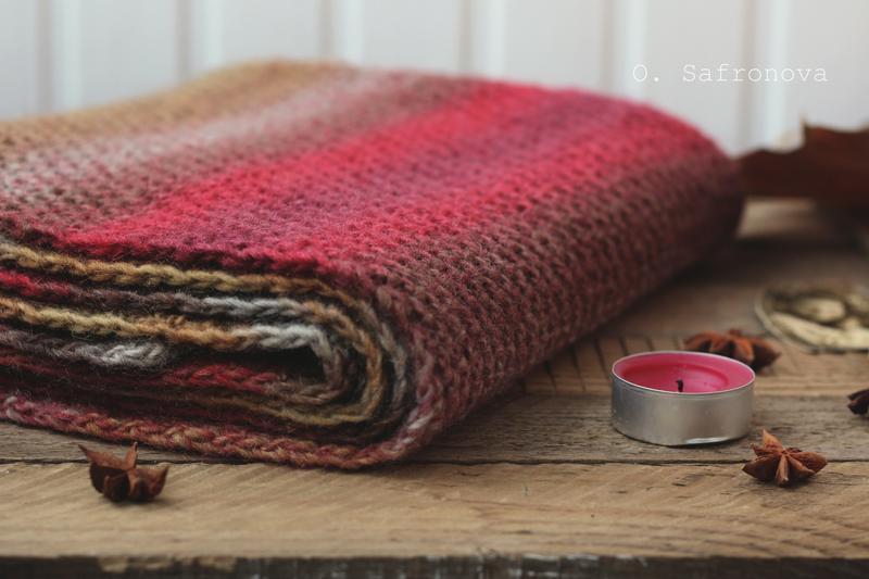 Шарф вязаный Ягодный десерт. Шерстяной зимний шарф